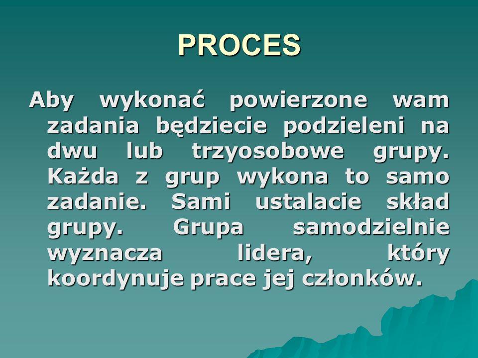 PROCES Aby wykonać powierzone wam zadania będziecie podzieleni na dwu lub trzyosobowe grupy. Każda z grup wykona to samo zadanie. Sami ustalacie skład