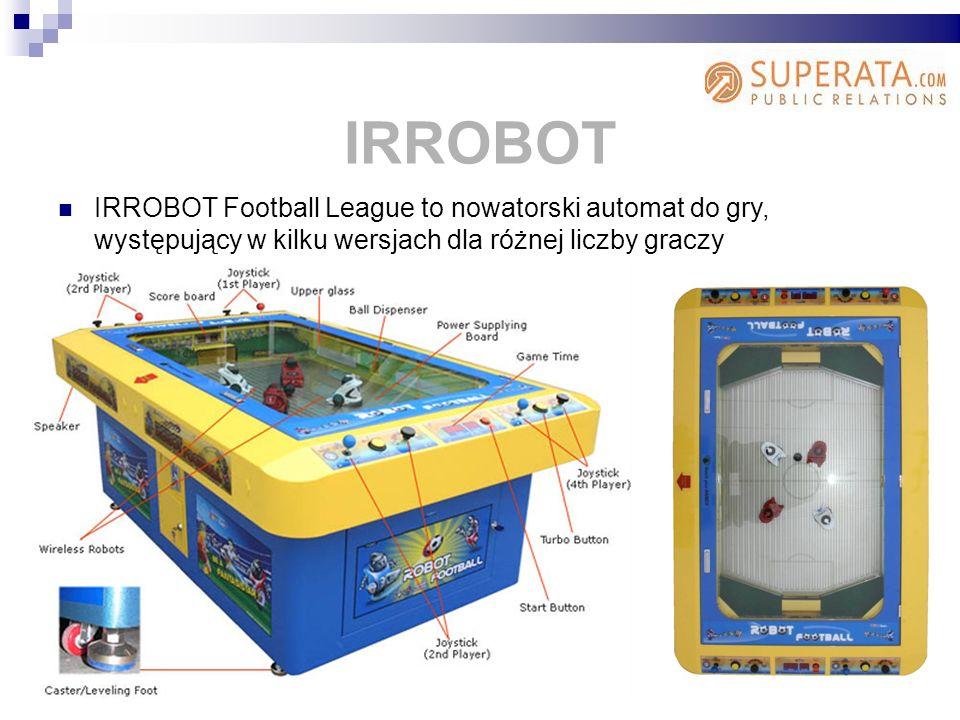 IRROBOT Football League to nowatorski automat do gry, występujący w kilku wersjach dla różnej liczby graczy IRROBOT