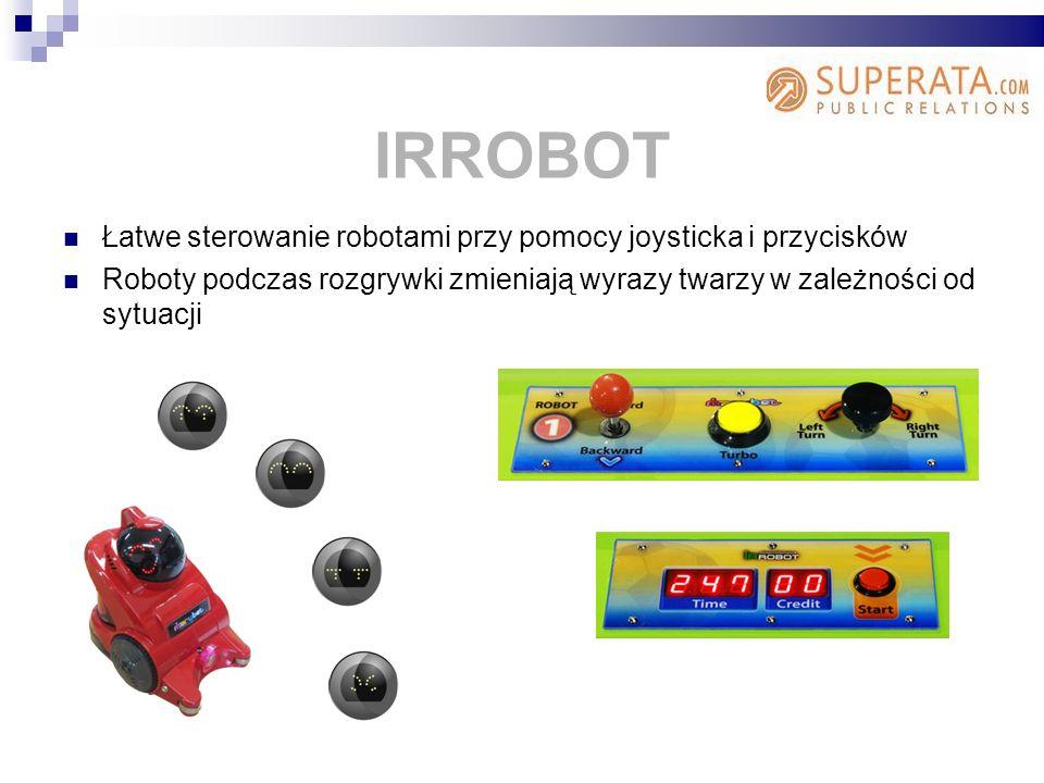 Łatwe sterowanie robotami przy pomocy joysticka i przycisków Roboty podczas rozgrywki zmieniają wyrazy twarzy w zależności od sytuacji IRROBOT