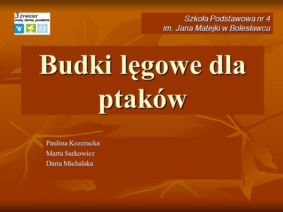 Budki lęgowe dla ptaków Paulina Kozeracka Marta Sarkowicz Daria Michalska Szkoła Podstawowa nr 4 im. Jana Matejki w Bolesławcu