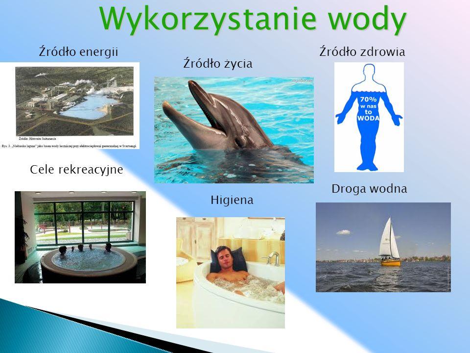 Źródło energii Źródło życia Źródło zdrowia Droga wodna Cele rekreacyjne Wykorzystanie wody Higiena