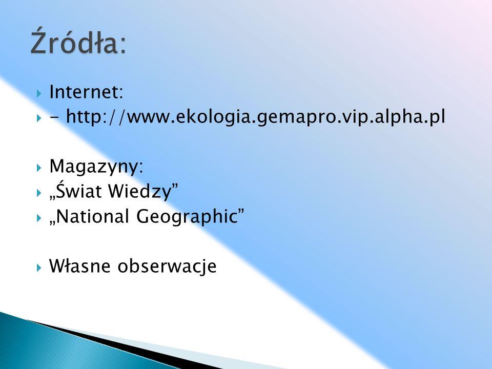 Internet: - http://www.ekologia.gemapro.vip.alpha.pl Magazyny: Świat Wiedzy National Geographic Własne obserwacje