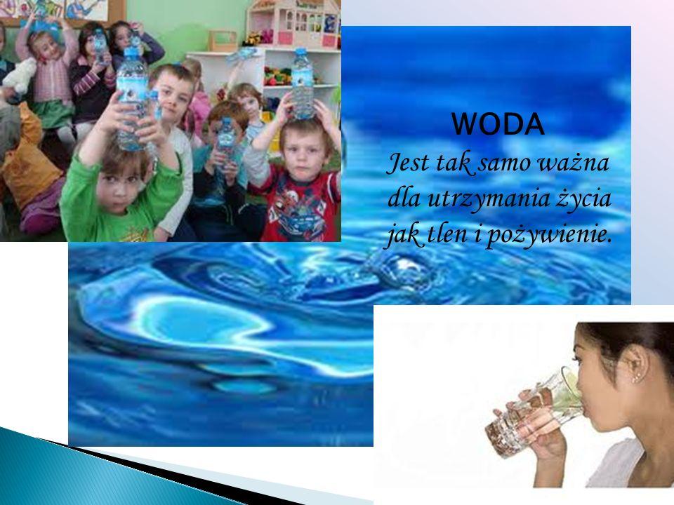 WODA Jest tak samo ważna dla utrzymania życia jak tlen i pożywienie.