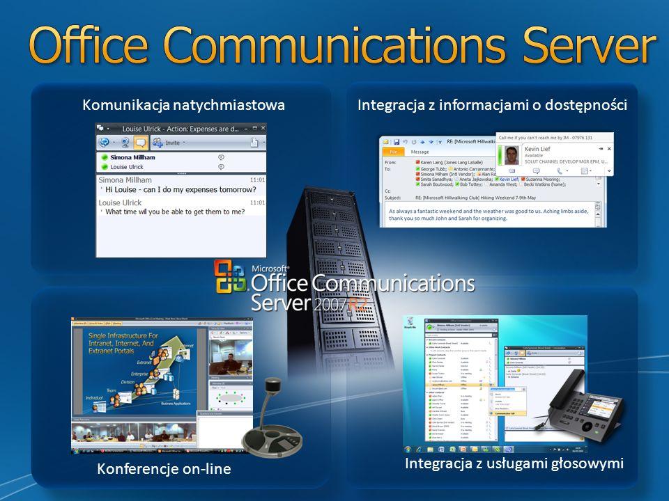 Konferencje on-line Komunikacja natychmiastowa Integracja z usługami głosowymi Integracja z informacjami o dostępności