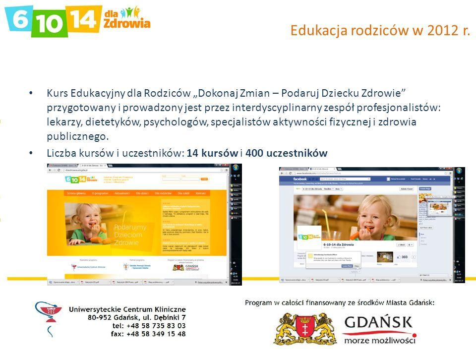 Edukacja rodziców w 2012 r. Kurs Edukacyjny dla Rodziców Dokonaj Zmian – Podaruj Dziecku Zdrowie przygotowany i prowadzony jest przez interdyscyplinar