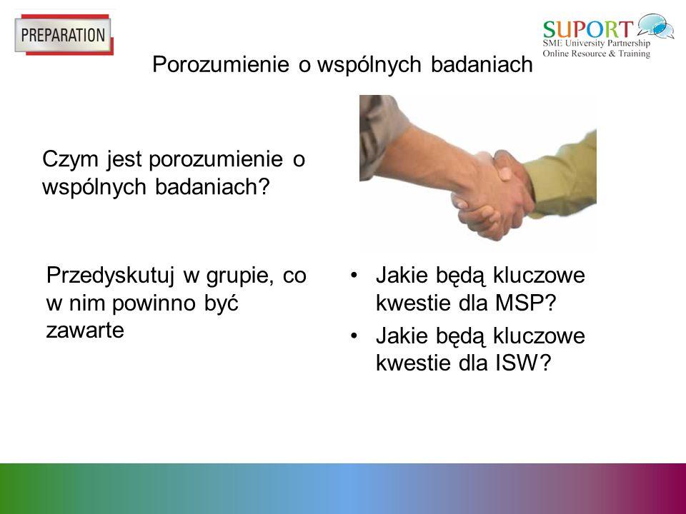Porozumienie o wspólnych badaniach Czym jest porozumienie o wspólnych badaniach.