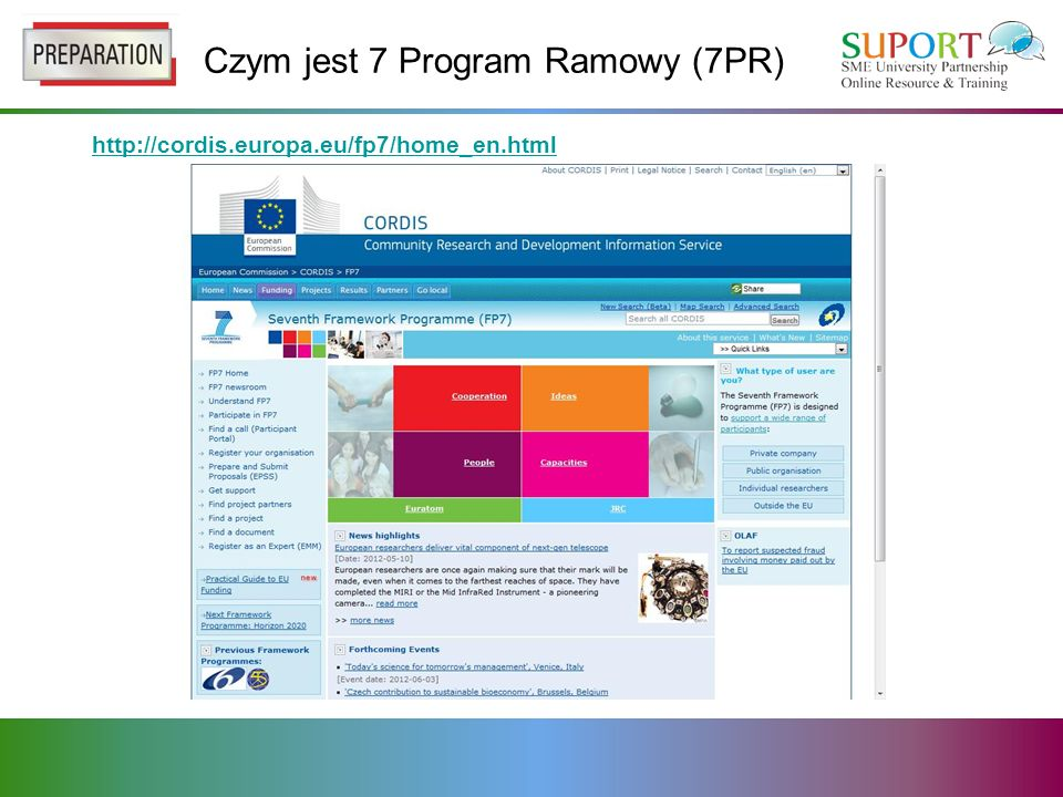 Czym jest 7 Program Ramowy (7PR) http://cordis.europa.eu/fp7/home_en.html