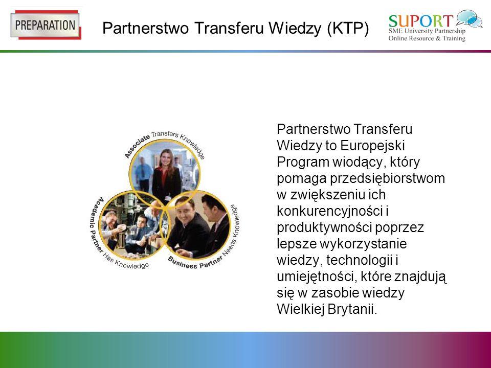 Partnerstwo Transferu Wiedzy (KTP) Partnerstwo Transferu Wiedzy to Europejski Program wiodący, który pomaga przedsiębiorstwom w zwiększeniu ich konkurencyjności i produktywności poprzez lepsze wykorzystanie wiedzy, technologii i umiejętności, które znajdują się w zasobie wiedzy Wielkiej Brytanii.