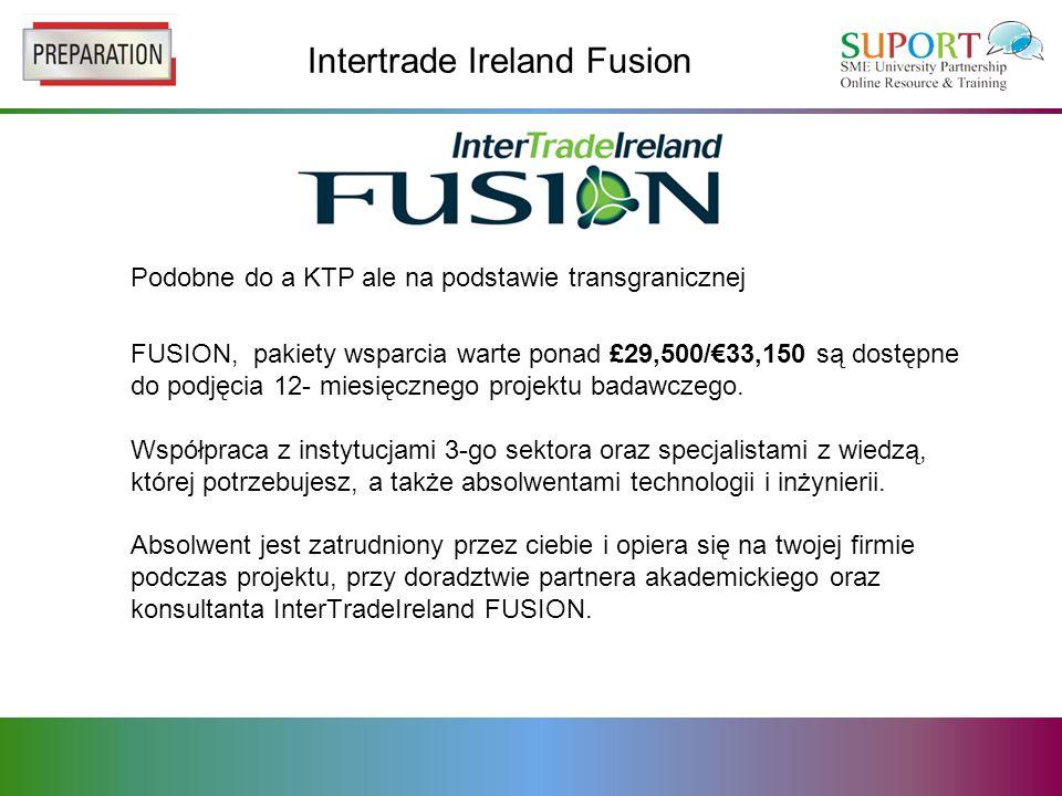 Intertrade Ireland Fusion Podobne do a KTP ale na podstawie transgranicznej FUSION, pakiety wsparcia warte ponad £29,500/33,150 są dostępne do podjęcia 12- miesięcznego projektu badawczego.