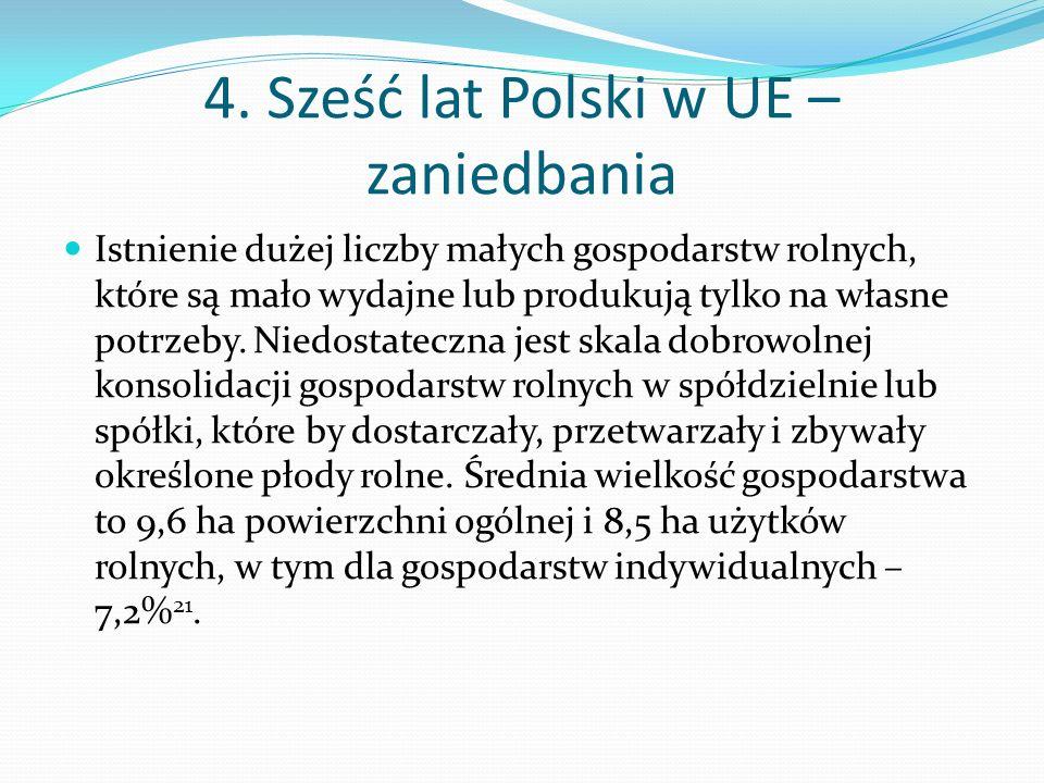 4. Sześć lat Polski w UE – zaniedbania Istnienie dużej liczby małych gospodarstw rolnych, które są mało wydajne lub produkują tylko na własne potrzeby
