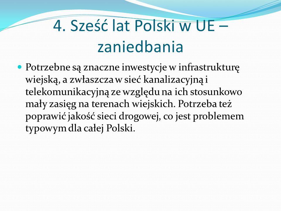 4. Sześć lat Polski w UE – zaniedbania Potrzebne są znaczne inwestycje w infrastrukturę wiejską, a zwłaszcza w sieć kanalizacyjną i telekomunikacyjną