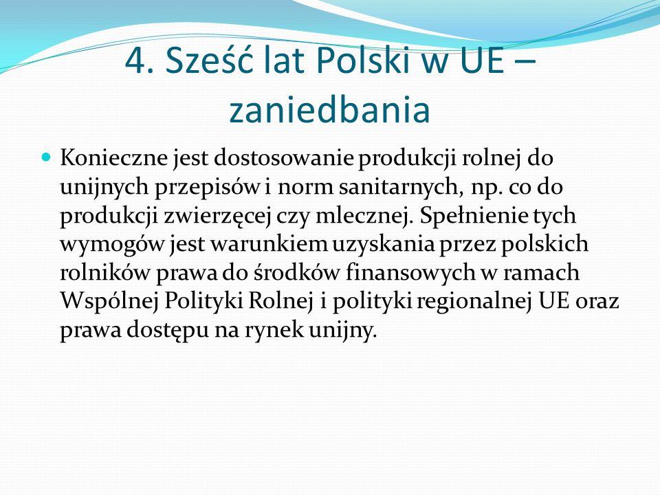 4. Sześć lat Polski w UE – zaniedbania Konieczne jest dostosowanie produkcji rolnej do unijnych przepisów i norm sanitarnych, np. co do produkcji zwie