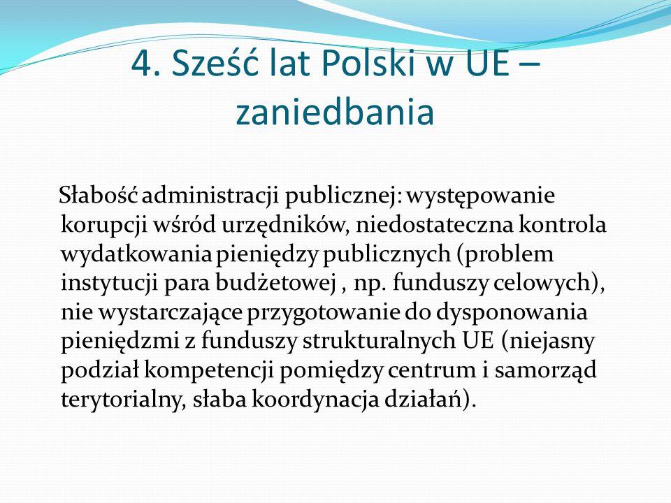 4. Sześć lat Polski w UE – zaniedbania Słabość administracji publicznej: występowanie korupcji wśród urzędników, niedostateczna kontrola wydatkowania