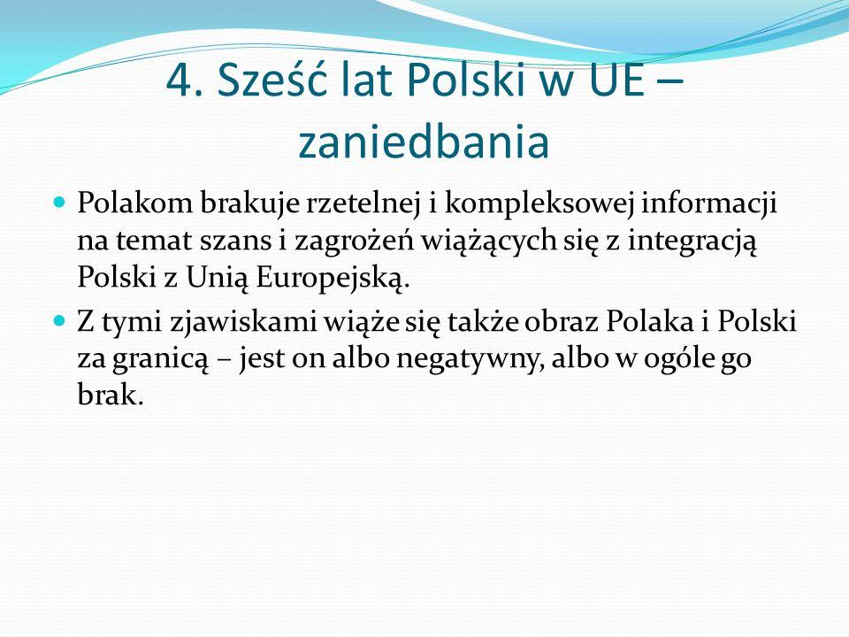 4. Sześć lat Polski w UE – zaniedbania Polakom brakuje rzetelnej i kompleksowej informacji na temat szans i zagrożeń wiążących się z integracją Polski