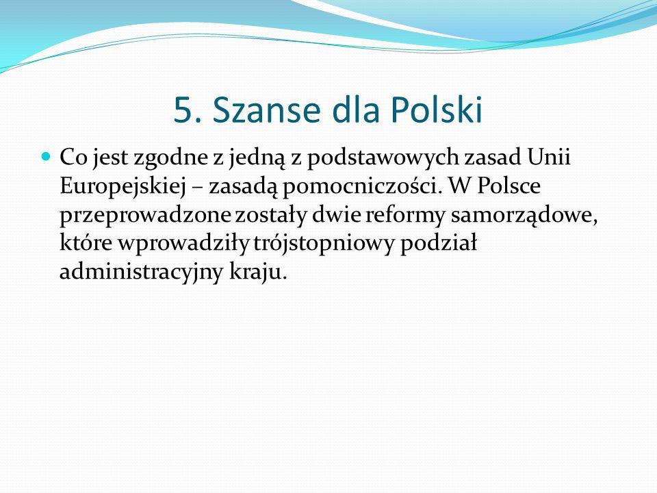 5. Szanse dla Polski Co jest zgodne z jedną z podstawowych zasad Unii Europejskiej – zasadą pomocniczości. W Polsce przeprowadzone zostały dwie reform