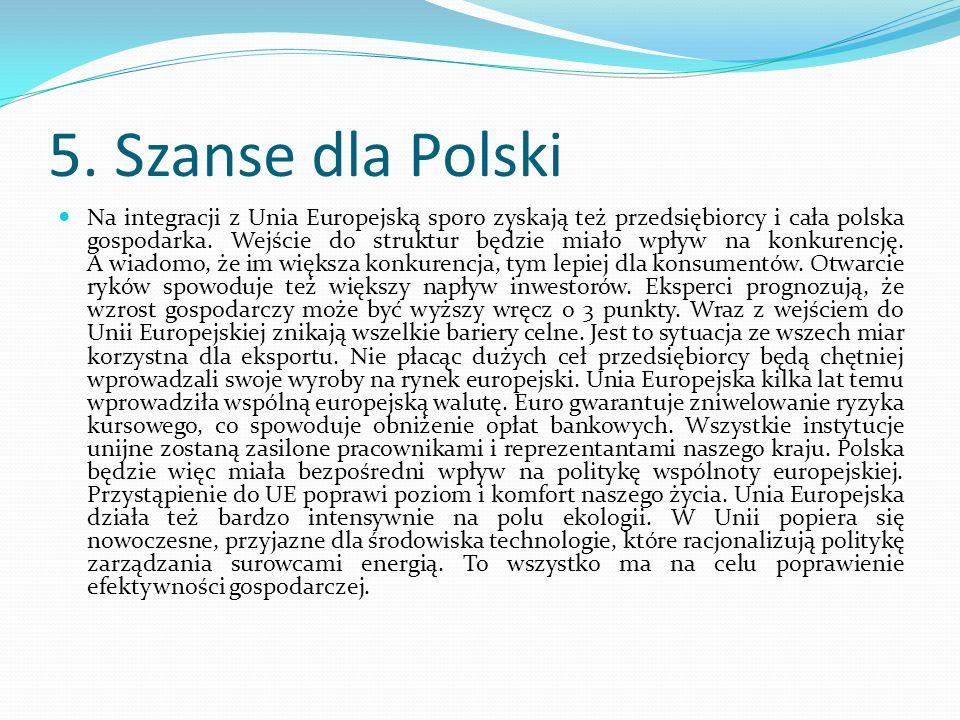 5. Szanse dla Polski Na integracji z Unia Europejską sporo zyskają też przedsiębiorcy i cała polska gospodarka. Wejście do struktur będzie miało wpływ