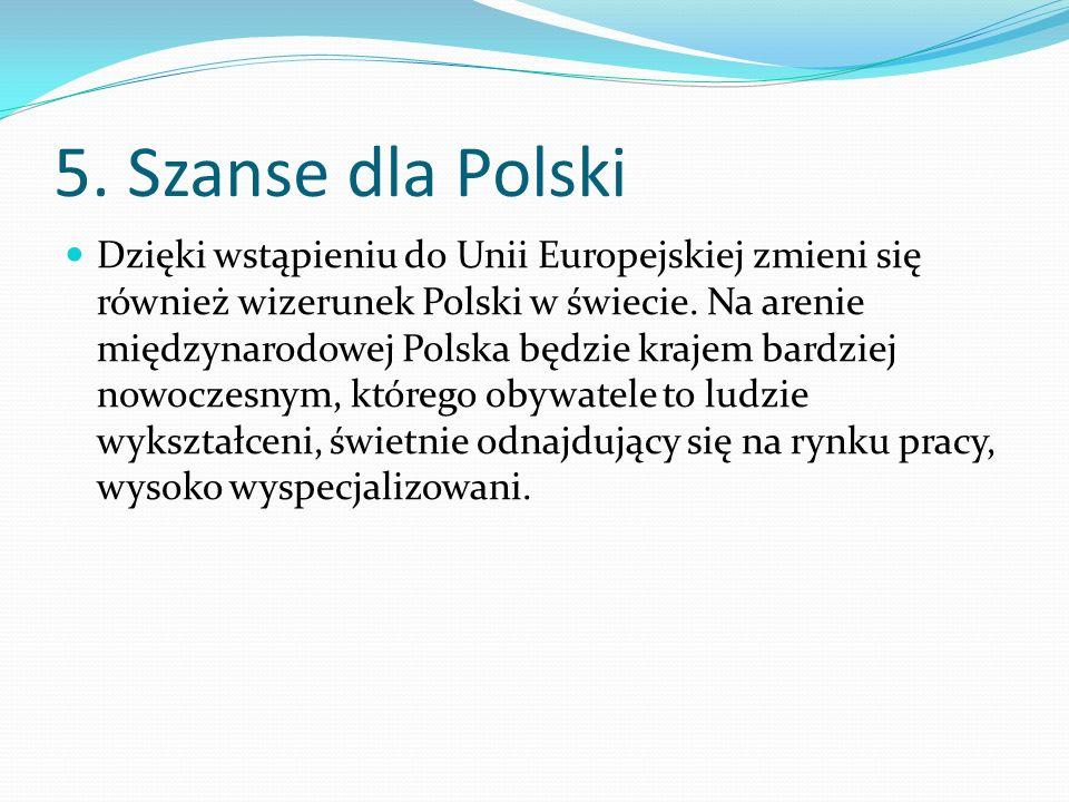 5. Szanse dla Polski Dzięki wstąpieniu do Unii Europejskiej zmieni się również wizerunek Polski w świecie. Na arenie międzynarodowej Polska będzie kra
