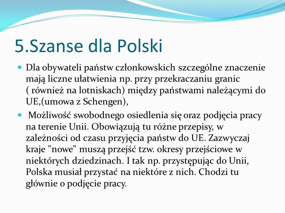 5.Szanse dla Polski Dla obywateli państw członkowskich szczególne znaczenie mają liczne ułatwienia np. przy przekraczaniu granic ( również na lotniska