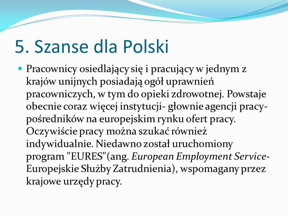 5. Szanse dla Polski Pracownicy osiedlający się i pracujący w jednym z krajów unijnych posiadają ogół uprawnień pracowniczych, w tym do opieki zdrowot