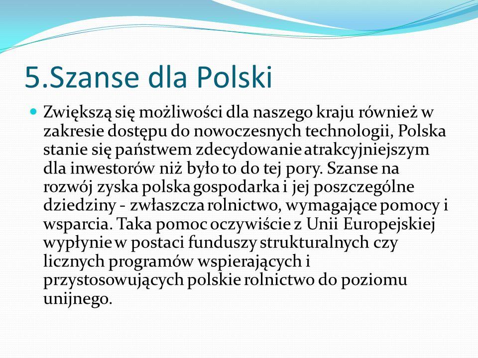5.Szanse dla Polski Zwiększą się możliwości dla naszego kraju również w zakresie dostępu do nowoczesnych technologii, Polska stanie się państwem zdecy