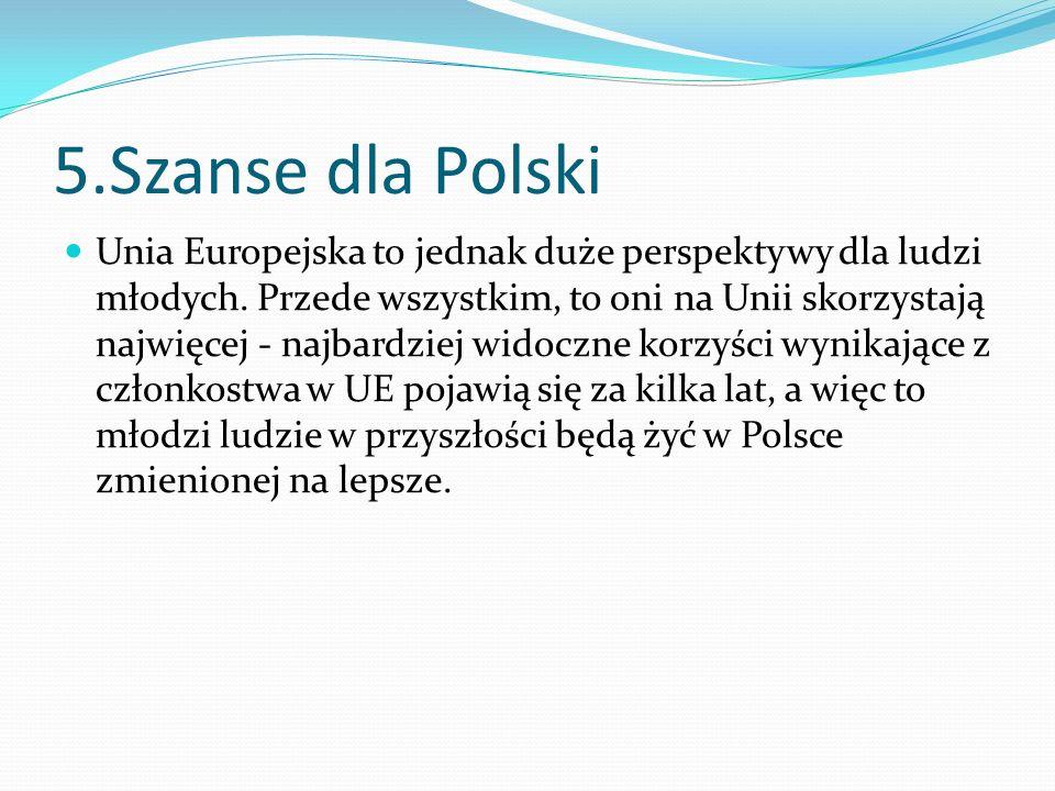 5.Szanse dla Polski Unia Europejska to jednak duże perspektywy dla ludzi młodych. Przede wszystkim, to oni na Unii skorzystają najwięcej - najbardziej