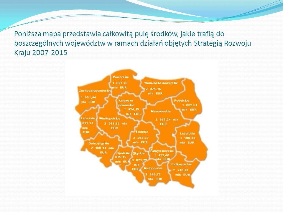 Poniższa mapa przedstawia całkowitą pulę środków, jakie trafią do poszczególnych województw w ramach działań objętych Strategią Rozwoju Kraju 2007-201
