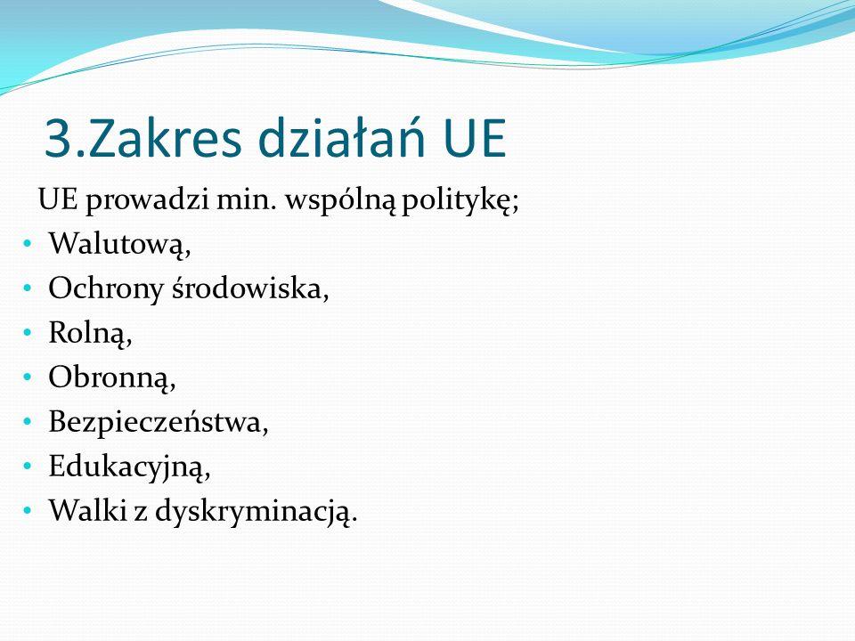 3.Zakres działań UE UE prowadzi min. wspólną politykę; Walutową, Ochrony środowiska, Rolną, Obronną, Bezpieczeństwa, Edukacyjną, Walki z dyskryminacją