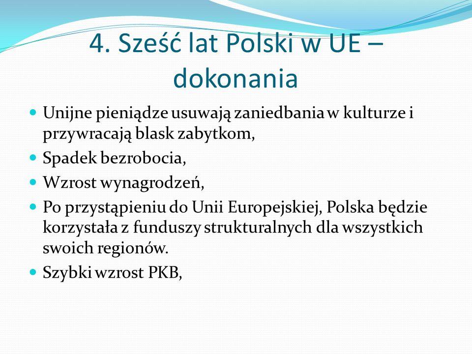 4. Sześć lat Polski w UE – dokonania Unijne pieniądze usuwają zaniedbania w kulturze i przywracają blask zabytkom, Spadek bezrobocia, Wzrost wynagrodz