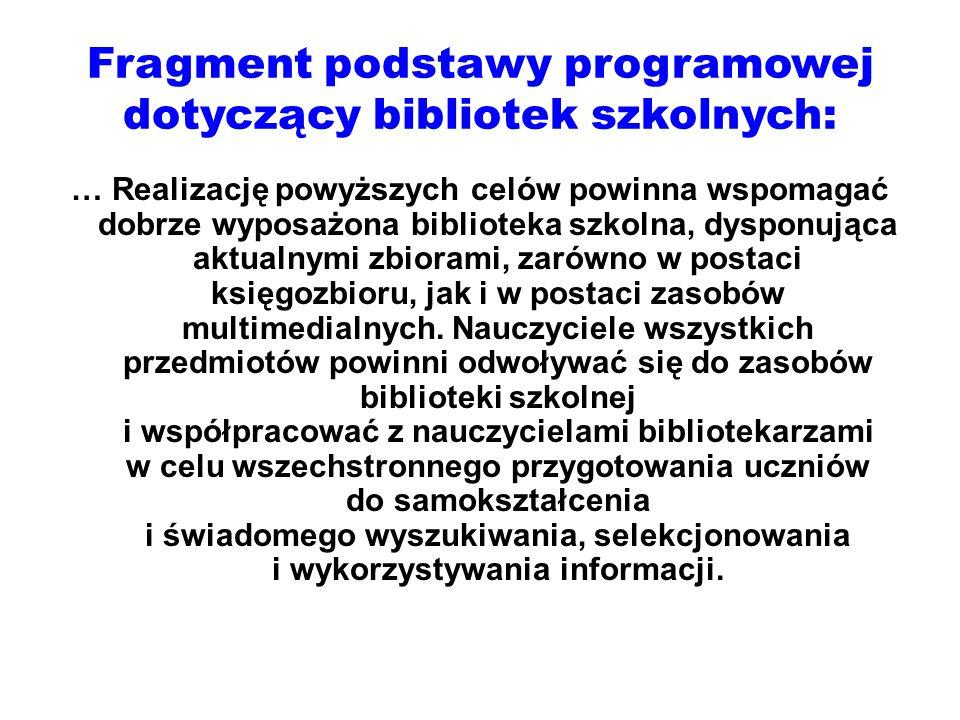 Fragment podstawy programowej dotyczący bibliotek szkolnych: … Realizację powyższych celów powinna wspomagać dobrze wyposażona biblioteka szkolna, dys