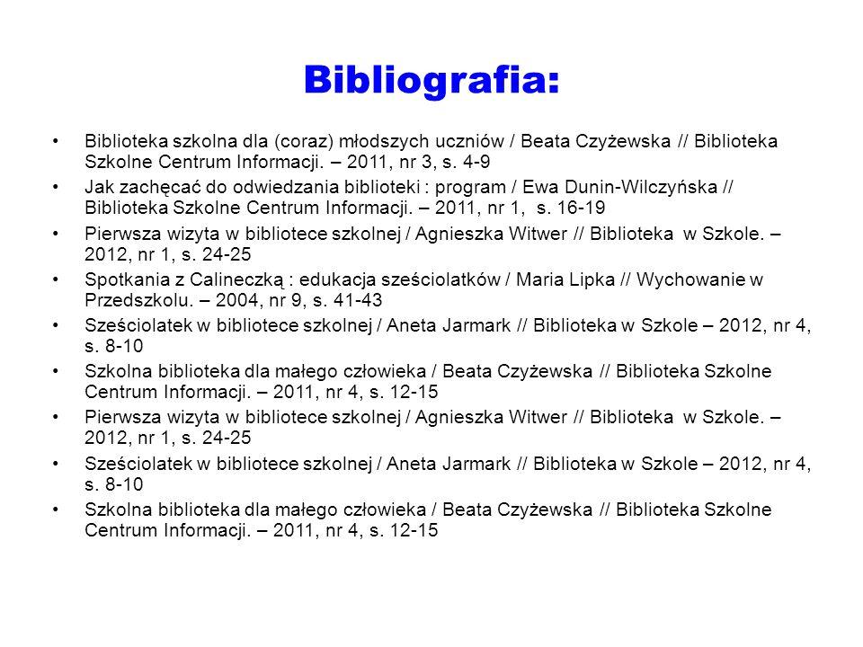 Bibliografia: Biblioteka szkolna dla (coraz) młodszych uczniów / Beata Czyżewska // Biblioteka Szkolne Centrum Informacji. – 2011, nr 3, s. 4-9 Jak za