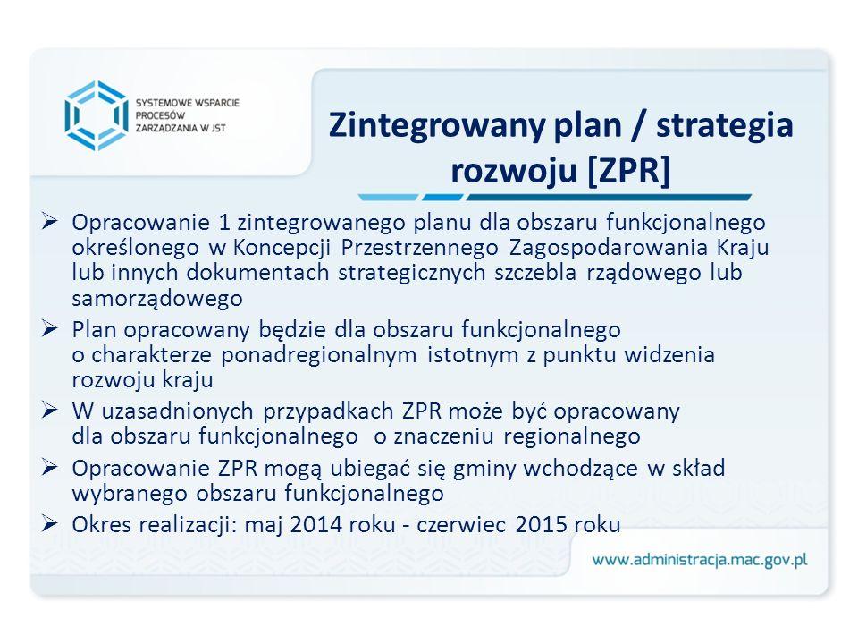 Zintegrowany plan / strategia rozwoju [ZPR] Opracowanie 1 zintegrowanego planu dla obszaru funkcjonalnego określonego w Koncepcji Przestrzennego Zagos