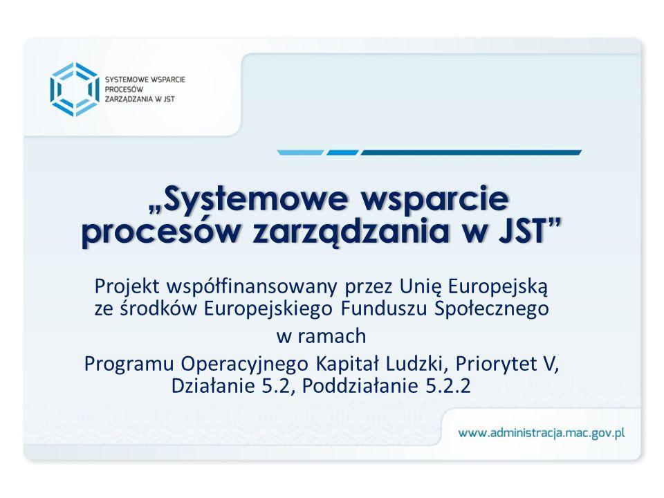 Systemowe wsparcie procesów zarządzania w JST Projekt współfinansowany przez Unię Europejską ze środków Europejskiego Funduszu Społecznego w ramach Pr