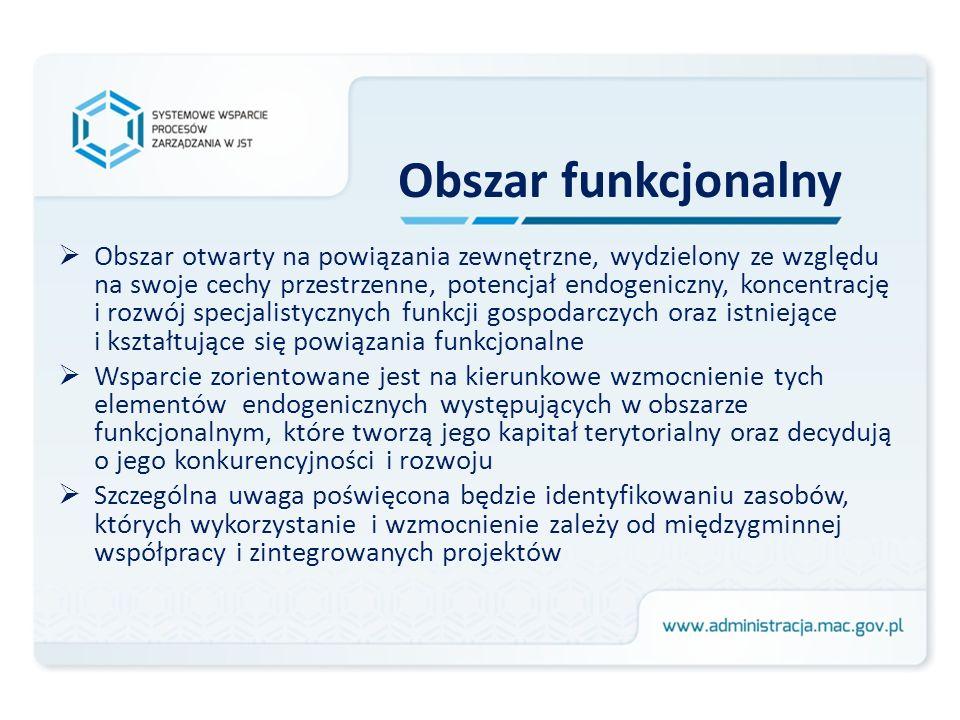 Obszar funkcjonalny Obszar otwarty na powiązania zewnętrzne, wydzielony ze względu na swoje cechy przestrzenne, potencjał endogeniczny, koncentrację i
