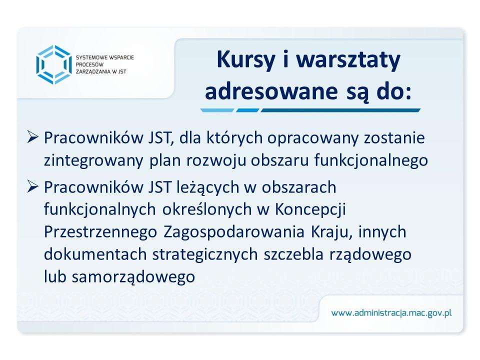 Kursy i warsztaty adresowane są do: Pracowników JST, dla których opracowany zostanie zintegrowany plan rozwoju obszaru funkcjonalnego Pracowników JST