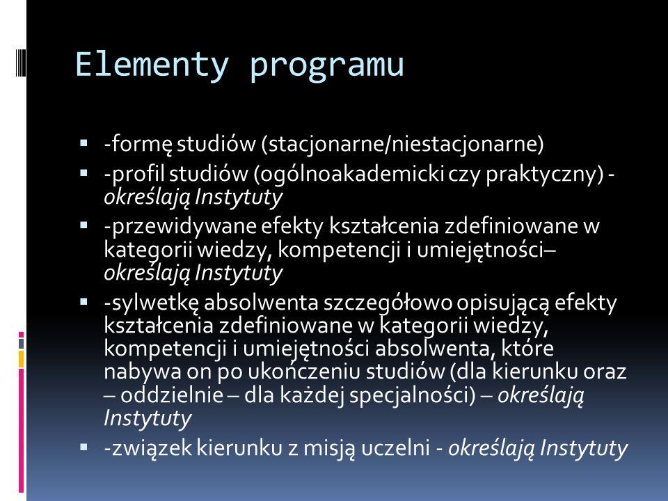 Elementy programu -formę studiów (stacjonarne/niestacjonarne) -profil studiów (ogólnoakademicki czy praktyczny) - określają Instytuty -przewidywane efekty kształcenia zdefiniowane w kategorii wiedzy, kompetencji i umiejętności– określają Instytuty -sylwetkę absolwenta szczegółowo opisującą efekty kształcenia zdefiniowane w kategorii wiedzy, kompetencji i umiejętności absolwenta, które nabywa on po ukończeniu studiów (dla kierunku oraz – oddzielnie – dla każdej specjalności) – określają Instytuty -związek kierunku z misją uczelni - określają Instytuty