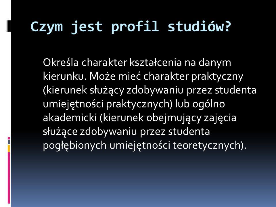 Czym jest profil studiów. Określa charakter kształcenia na danym kierunku.