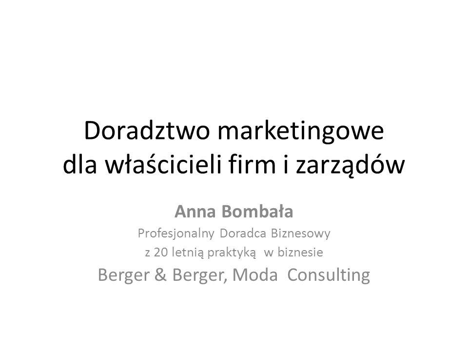 Doradztwo marketingowe dla właścicieli firm i zarządów Anna Bombała Profesjonalny Doradca Biznesowy z 20 letnią praktyką w biznesie Berger & Berger, M