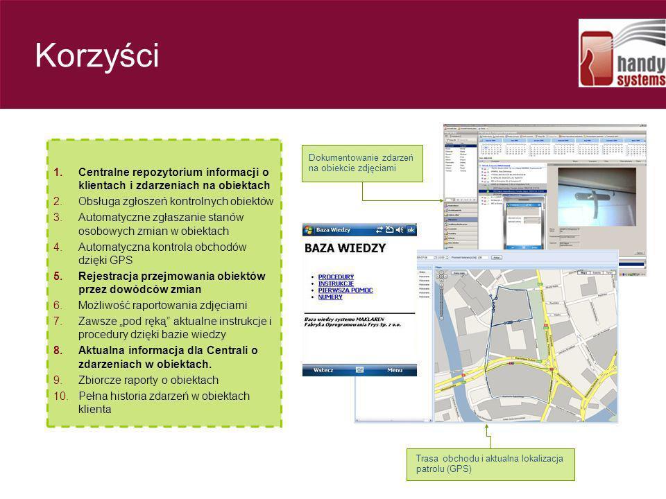 Korzyści 1.Centralne repozytorium informacji o klientach i zdarzeniach na obiektach 2.Obsługa zgłoszeń kontrolnych obiektów 3.Automatyczne zgłaszanie