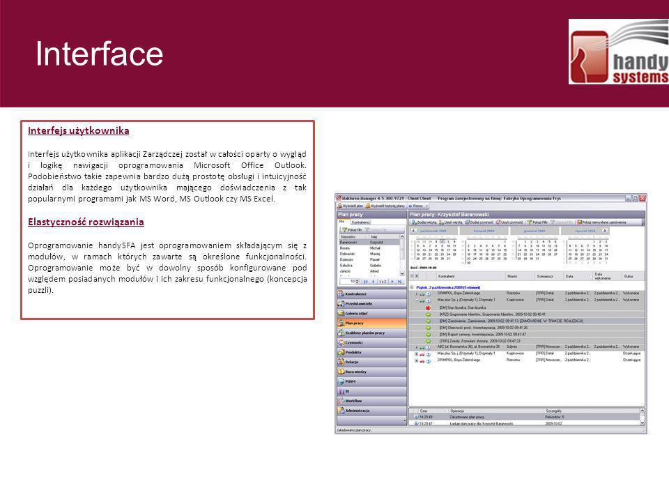 Interfejs użytkownika Interfejs użytkownika aplikacji Zarządczej został w całości oparty o wygląd i logikę nawigacji oprogramowania Microsoft Office O