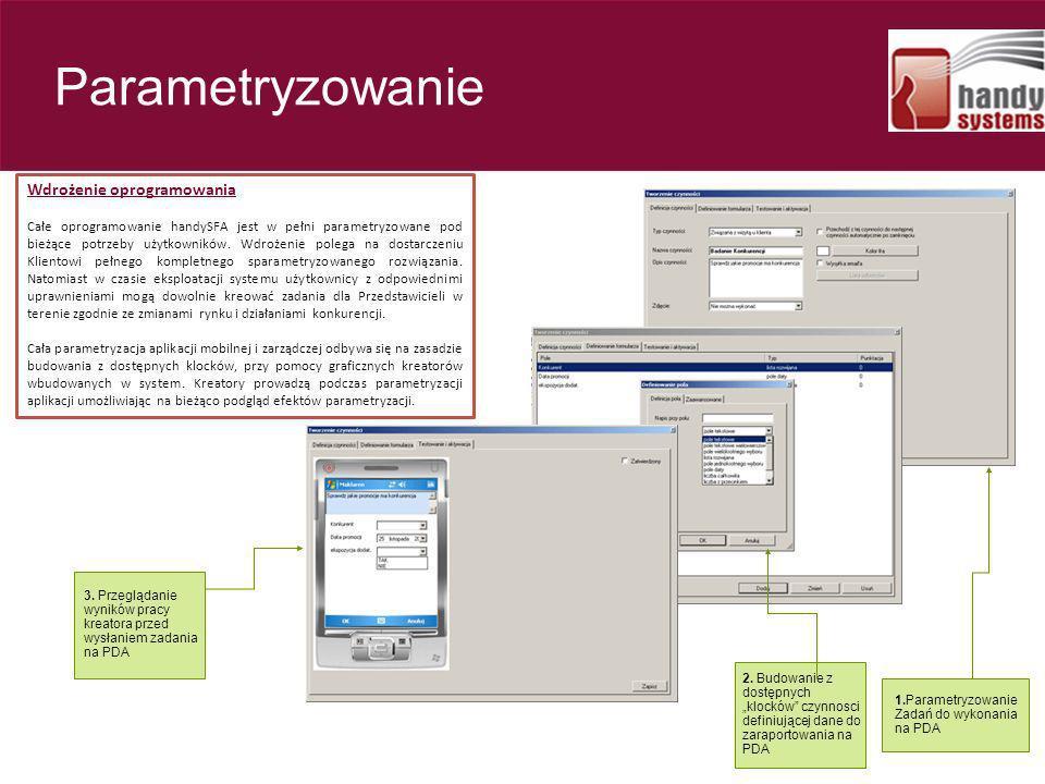 Rzut okiem - parametryzowanie Wdrożenie oprogramowania Całe oprogramowanie handySFA jest w pełni parametryzowane pod bieżące potrzeby użytkowników. Wd