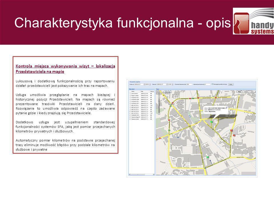 Kontrola miejsca wykonywania wizyt – lokalizacja Przedstawiciela na mapie Luksusową i dodatkową funkcjonalnością przy raportowaniu działań przedstawic