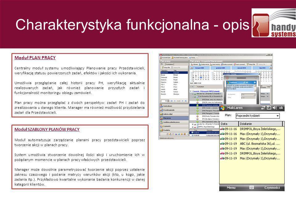 Moduł PLAN PRACY Centralny moduł systemu umożliwiający Planowanie pracy Przedstawicieli, weryfikację statusu powierzonych zadań, efektów i jakości ich