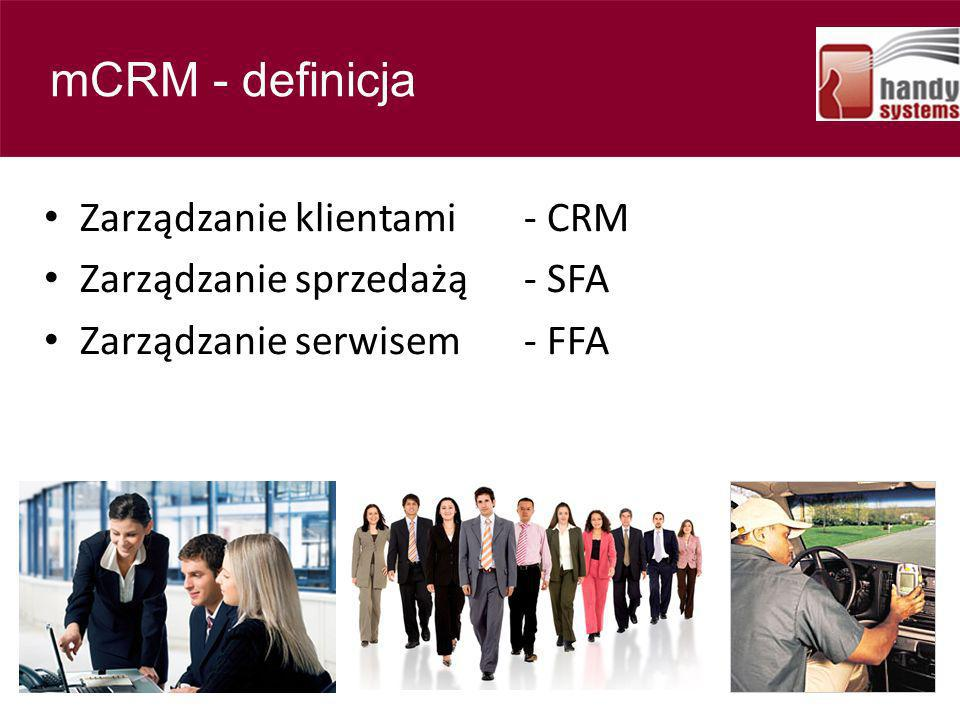 Contents Zarządzanie klientami - CRM Zarządzanie sprzedażą- SFA Zarządzanie serwisem- FFA mCRM - definicja