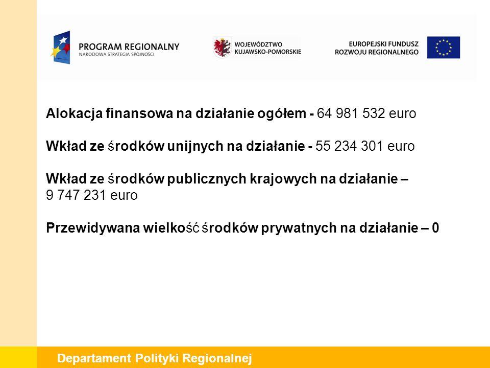 Departament Polityki Regionalnej Alokacja finansowa na działanie ogółem - 64 981 532 euro Wkład ze środków unijnych na działanie - 55 234 301 euro Wkład ze środków publicznych krajowych na działanie – 9 747 231 euro Przewidywana wielkość środków prywatnych na działanie – 0