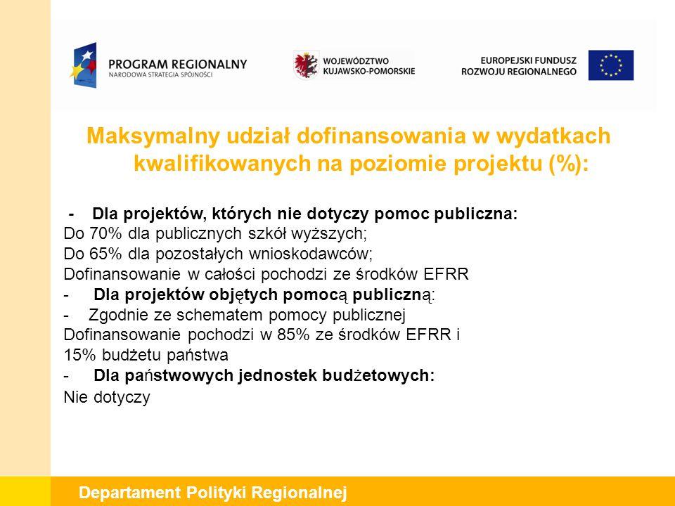 Departament Polityki Regionalnej Maksymalny udział dofinansowania w wydatkach kwalifikowanych na poziomie projektu (%): - Dla projektów, których nie dotyczy pomoc publiczna: Do 70% dla publicznych szkół wyższych; Do 65% dla pozostałych wnioskodawców; Dofinansowanie w całości pochodzi ze środków EFRR - Dla projektów objętych pomocą publiczną: -Zgodnie ze schematem pomocy publicznej Dofinansowanie pochodzi w 85% ze środków EFRR i 15% budżetu państwa - Dla państwowych jednostek budżetowych: Nie dotyczy