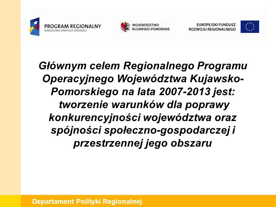 Departament Polityki Regionalnej Głównym celem Regionalnego Programu Operacyjnego Województwa Kujawsko- Pomorskiego na lata 2007-2013 jest: tworzenie warunków dla poprawy konkurencyjności województwa oraz spójności społeczno-gospodarczej i przestrzennej jego obszaru