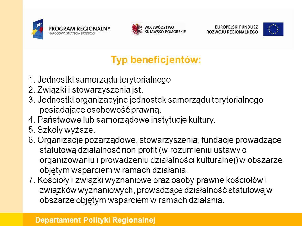 Departament Polityki Regionalnej Typ beneficjentów: 1.
