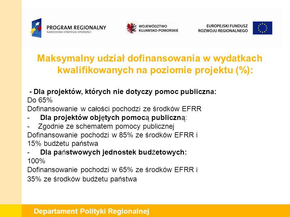 Departament Polityki Regionalnej Maksymalny udział dofinansowania w wydatkach kwalifikowanych na poziomie projektu (%): - Dla projektów, których nie dotyczy pomoc publiczna: Do 65% Dofinansowanie w całości pochodzi ze środków EFRR - Dla projektów objętych pomocą publiczną: -Zgodnie ze schematem pomocy publicznej Dofinansowanie pochodzi w 85% ze środków EFRR i 15% budżetu państwa - Dla państwowych jednostek budżetowych: 100% Dofinansowanie pochodzi w 65% ze środków EFRR i 35% ze środków budżetu państwa
