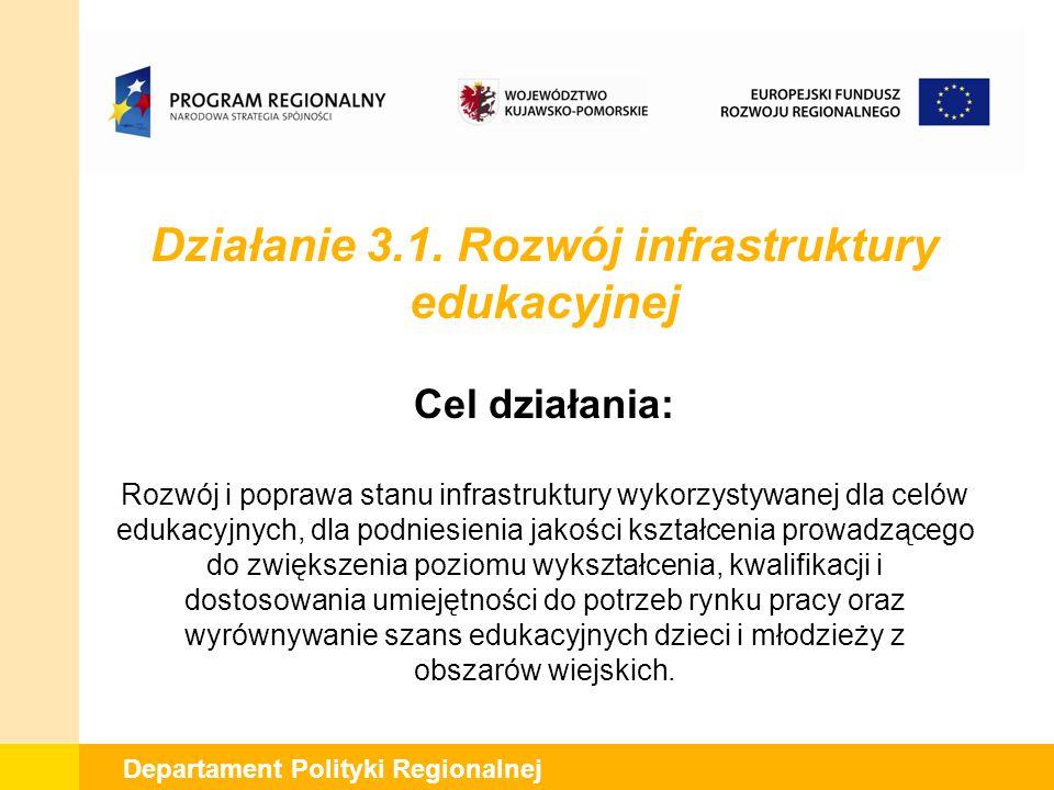 Departament Polityki Regionalnej Poprzez wspieranie projektów z zakresu rozwoju infrastruktury edukacyjnej nastąpi: poprawa jakości kształcenia na wszystkich poziomach oraz lepsza oferta kształcenia