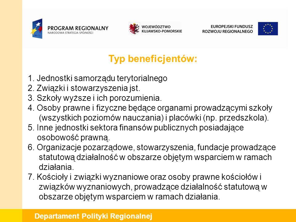 Departament Polityki Regionalnej Dziękuję za uwagę www.fundusze.kujawsko-pomorskie.pl